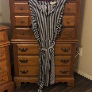 Black and white striped tie dress from The Loft